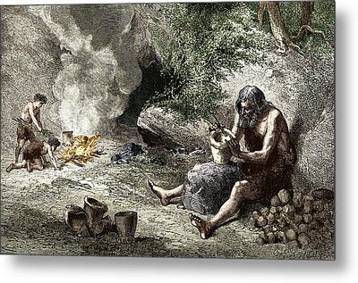Early Humans Making Pottery Metal Print by Sheila Terry