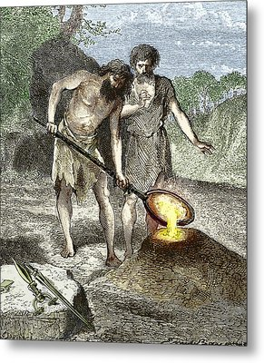Early Humans Smelting Bronze Metal Print by Sheila Terry