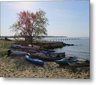 Early Morning Canoes Metal Print by Valia Bradshaw