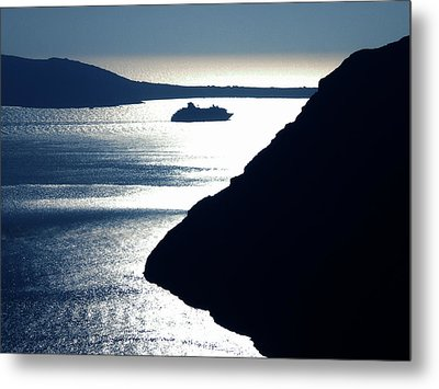 Metal Print featuring the photograph Early Night Santorini Island Greece by Colette V Hera  Guggenheim