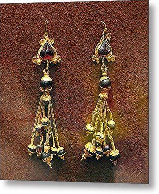 Earrings With Garnets Metal Print by Andonis Katanos