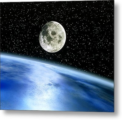 Earth And Moon Metal Print by Julian Baum