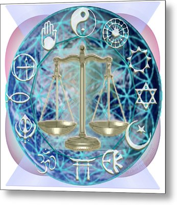 Metal Print featuring the digital art Earth Balancing Chalice-bridging Hearts Intertwined by Christopher Pringer