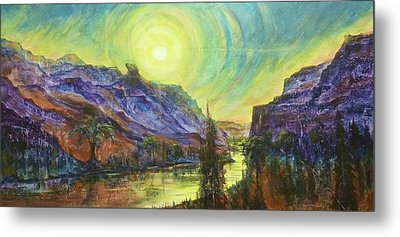 Earth Light Series Wolf Butte Sun Metal Print by Len Sodenkamp