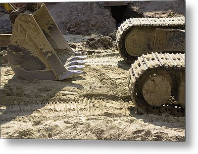Earth Moving Equipment. An Excavator Metal Print by Maksym Zaleskyy