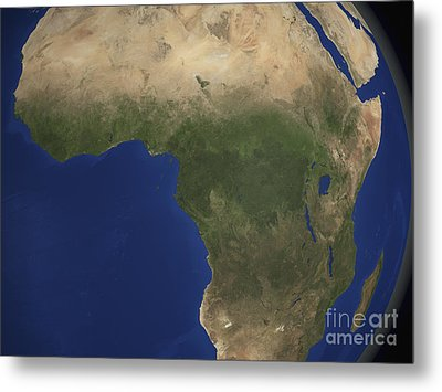 Earth Showing Landcover Over Africa Metal Print by Stocktrek Images