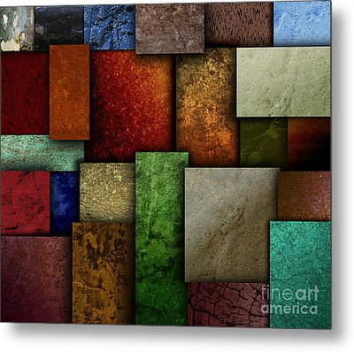 Earth Tone Texture Square Patterns Metal Print by Angela Waye