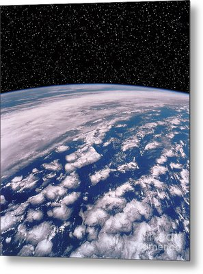 Earth With Starfield Metal Print by NASA / Science Source