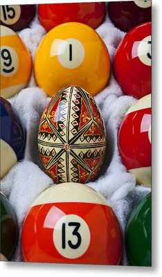 Easter Egg Among Pool Balls Metal Print by Garry Gay