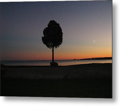 Eastern Sunset And Moon Rise Metal Print by Bruce Carpenter