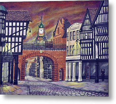 Eastgate Clock - Chester Metal Print by Ronald Haber
