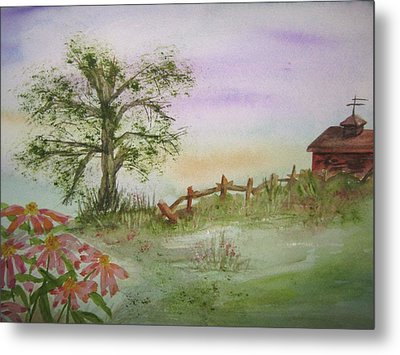 Echinacea And Crooked Fence Metal Print by Ellen Levinson