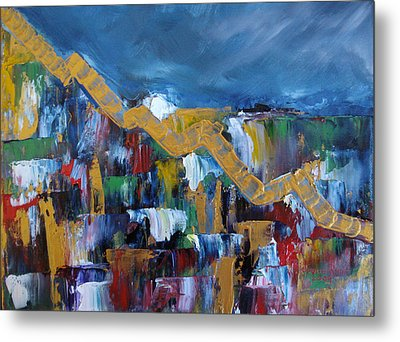 Metal Print featuring the painting Economic Meltdown by Judith Rhue
