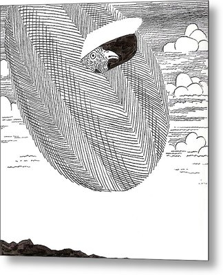 Egg Drawing 040003 Metal Print