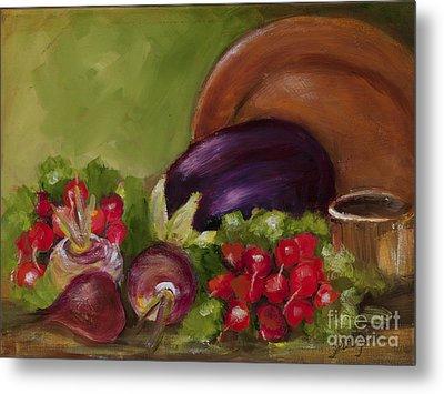 Eggplant And Radishes Metal Print