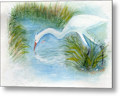 Metal Print featuring the painting Egret Fishing Creek by Doris Blessington