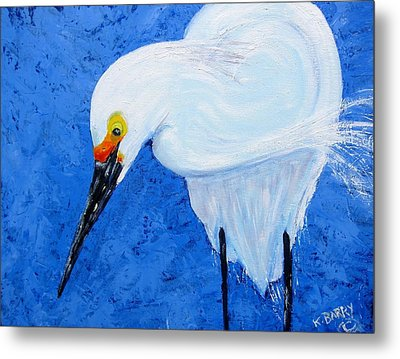 Egret Hunting Metal Print by Kathryn Barry