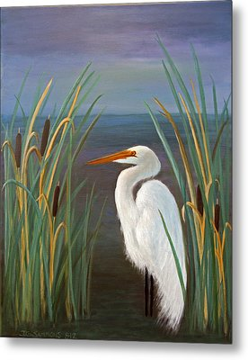 Egret In Cattails Metal Print