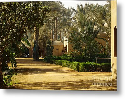 Egyptian Courtyard In The Late Afternoon Metal Print by Mary Machare