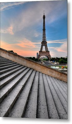Eiffel Tower At Sunrise, Paris Metal Print by Romain Villa Photographe
