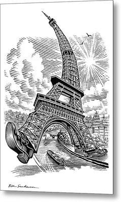Eiffel Tower, Conceptual Artwork Metal Print by Bill Sanderson