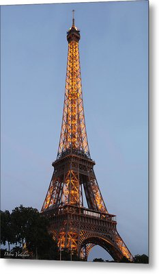 Eiffel Tower Lights Metal Print by Debra     Vatalaro