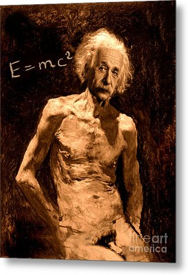 Einstein Relatively Nude Metal Print by Karine Percheron-Daniels