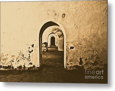 El Morro Fort Barracks Arched Doorways San Juan Puerto Rico Prints Rustic Metal Print by Shawn O'Brien