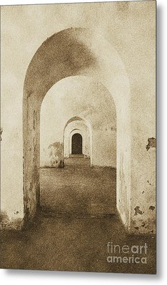 El Morro Fort Barracks Arched Doorways Vertical San Juan Puerto Rico Prints Vintage Metal Print