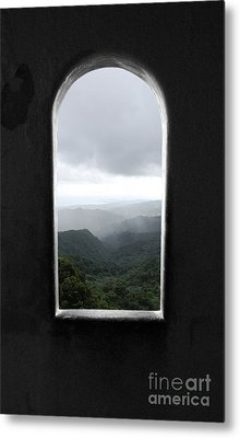 Metal Print featuring the photograph El Yunque Cloudburst Color Splash Black And White by Shawn O'Brien
