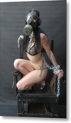 Electric Chair - Bound N Chained Metal Print by Liezel Rubin
