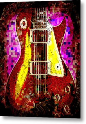 Electric Guitar Abstract Metal Print by David G Paul