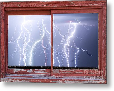 Electric Skies Red Barn Picture Window Frame Photo Art  Metal Print by James BO  Insogna