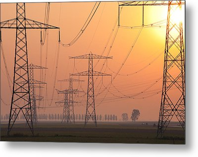 Metal Print featuring the photograph Electricity Pylons by Hans Engbers