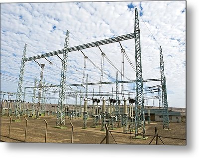 Electricity Substation Metal Print by Peter Chadwick