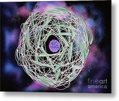 Electrons Orbiting Atom Metal Print by Omikron