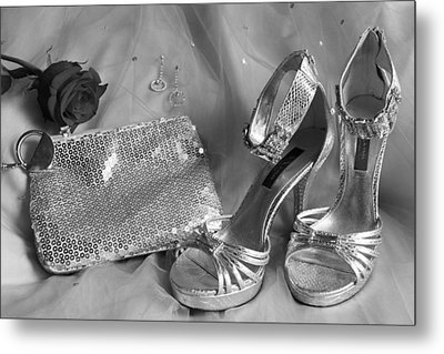 Elegant Night Out In Black And White Metal Print