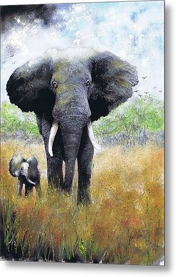 Elephant And Baby Metal Print