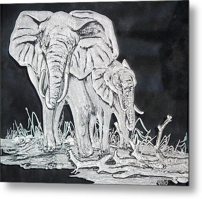 Elephant And Calf Metal Print by Akoko Okeyo