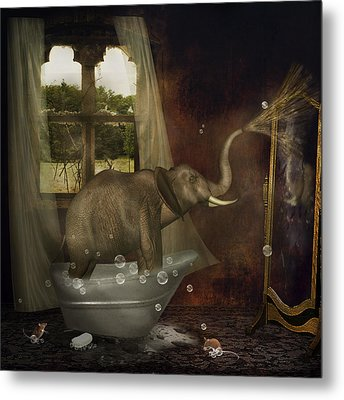 Elephant In Bath Metal Print