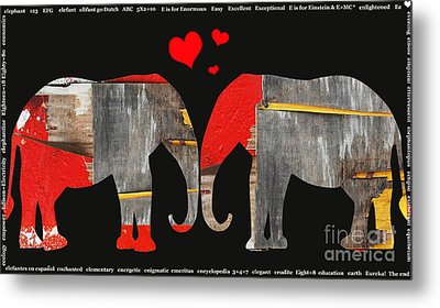 Elephant Love Kids Licensing Art Metal Print by Anahi DeCanio