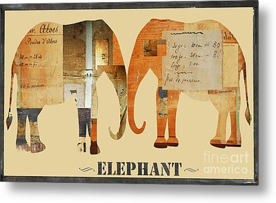 Elephants Juvenile Licensing Art Metal Print by Anahi DeCanio