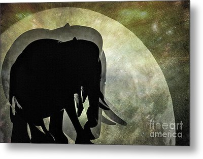 Elephants On Moonlight Walk 2 Metal Print by Kaye Menner