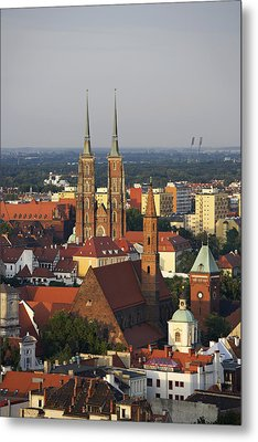 Elevated View Of Wroclaw With Church Spires Metal Print by Guy Vanderelst