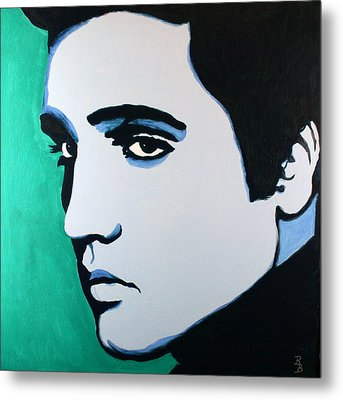 Metal Print featuring the painting Elvis Presley - Blue Green by Bob Baker