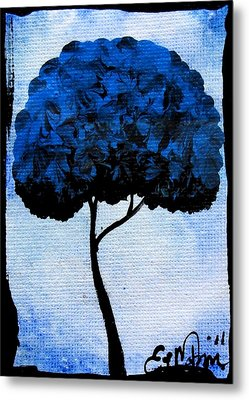 Emily's Trees Blue Metal Print by Oddball Art Co by Lizzy Love