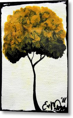 Emily's Trees Yellow Metal Print by Oddball Art Co by Lizzy Love