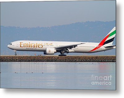 Emirates Airline Jet Airplane At San Francisco International Airport Sfo . 7d12104 Metal Print by Wingsdomain Art and Photography