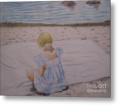 Emma On The Beach Metal Print by Heather Perez