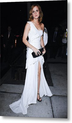 Emma Watson Wearing A White Metal Print by Everett